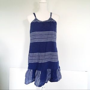 Old Navy Blue Striped Halter Dress With Ruffle